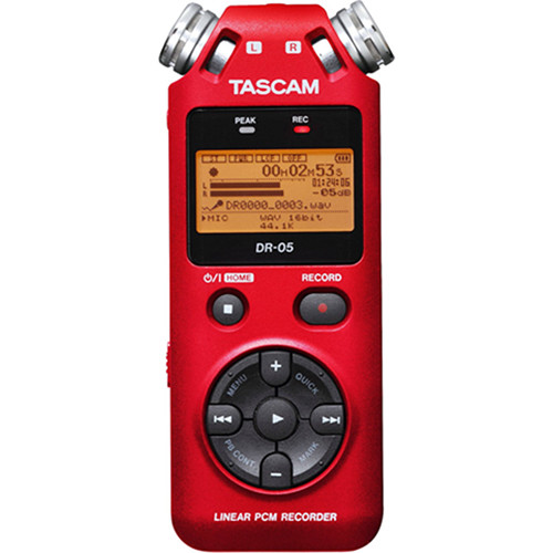 Tascam DR-05 Digital Audio Recorder Kit with Shotgun Microphone (Red)