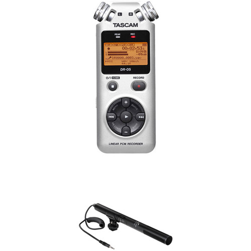 Tascam DR-05 Digital Audio Recorder Kit with Shotgun Microphone (Silver)