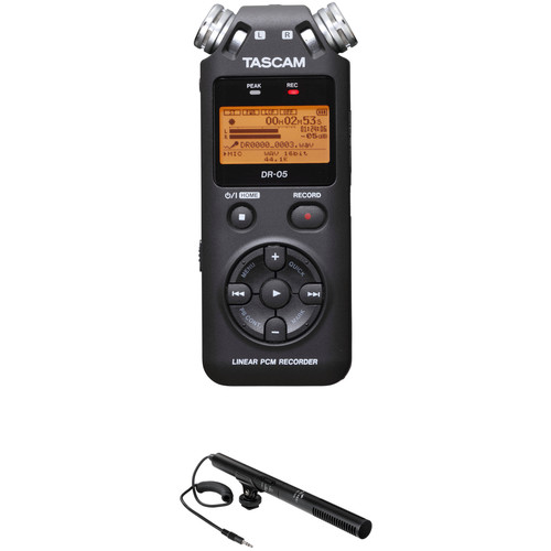 Tascam DR-05 Digital Audio Recorder Kit with Shotgun Microphone (Black)