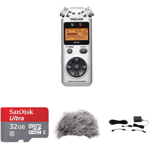 Tascam DR-05 Value Kit with microSDHC Card, Windscreen, and AC Adapter (Silver)