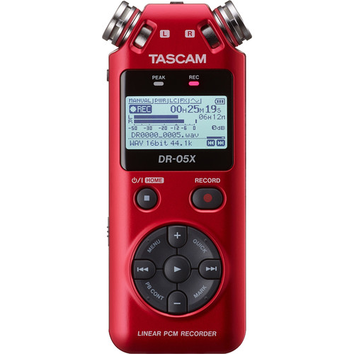 Tascam DR-05X 2-Input / 2-Track Portable Audio Recorder with Onboard Stereo Microphone (Red)