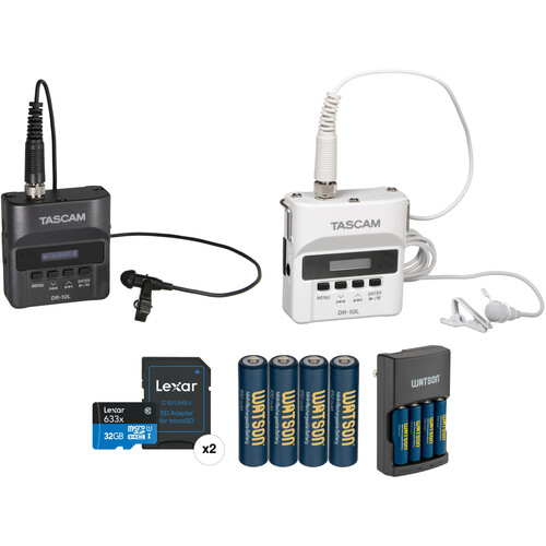 Tascam DR-10L Bride and Groom Kit with Two Portable Audio Recorders & Lavalier Mics