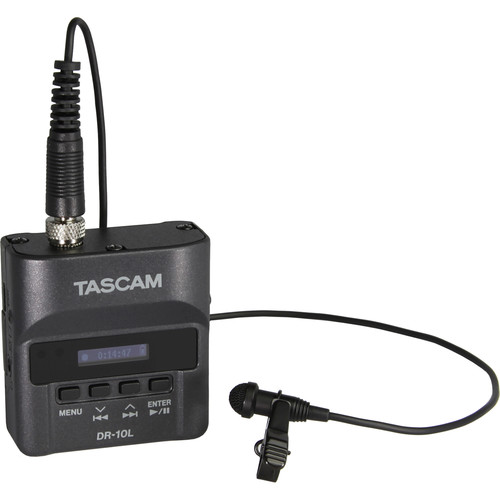 Tascam DR-10L Micro Portable Audio Recorder with Lavalier Microphone (Black)