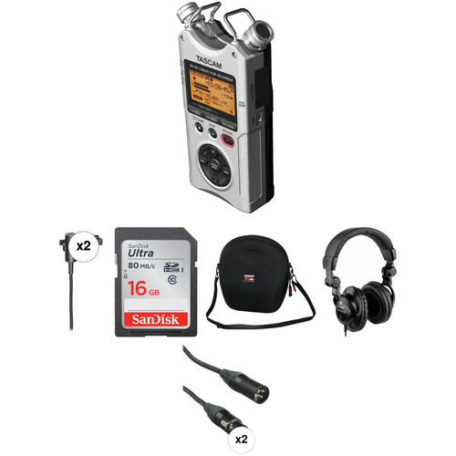 Tascam DR-40 One-on-One Interviewer Package (Silver)