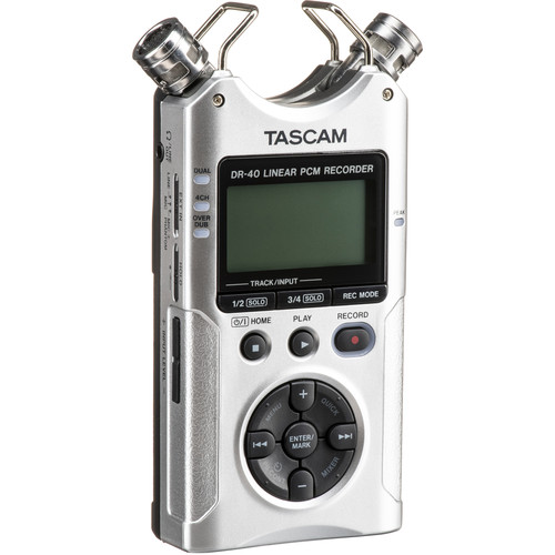 Tascam DR-40 4-Track Handheld Digital Audio Recorder (Silver)