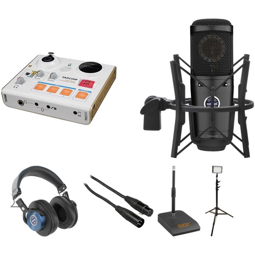 Tascam MiniSTUDIO Video Blogger Kit with Microphone, Headphones, Stand, Cable, and LED Light
