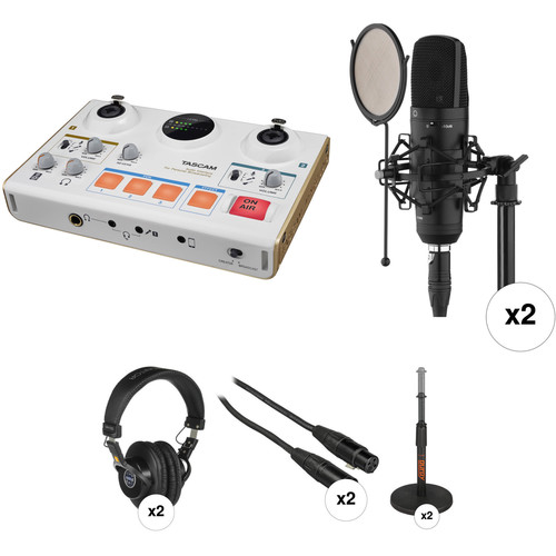 Tascam Mini-Studio Podcaster 2-Person Kit with Microphones, Stands, Headphones, and Cables