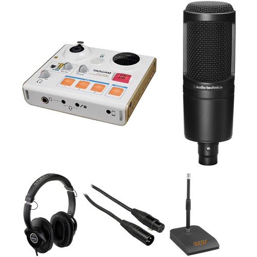 Tascam MiniSTUDIO Single-Person Podcast Kit with Microphone, Headphones, Stand, and Cable
