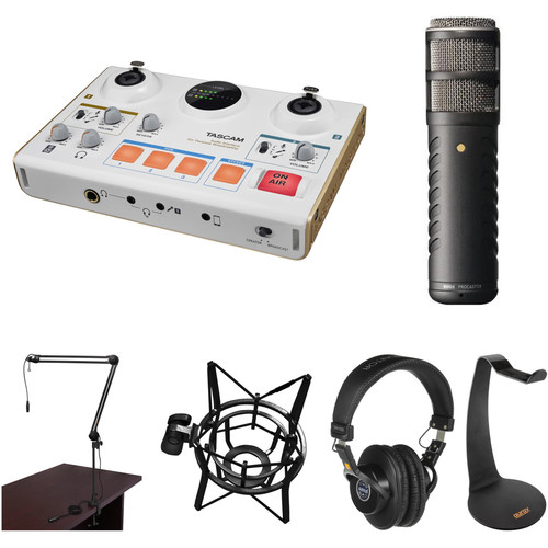 Tascam US-42 Audio Interface with Procaster Microphone and Broadcast Arm Kit