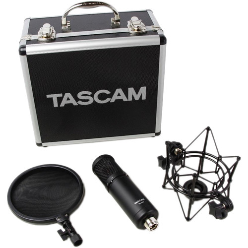 Tascam TM-280 Studio Microphone with Flight Case, Shockmount, and Pop Filter