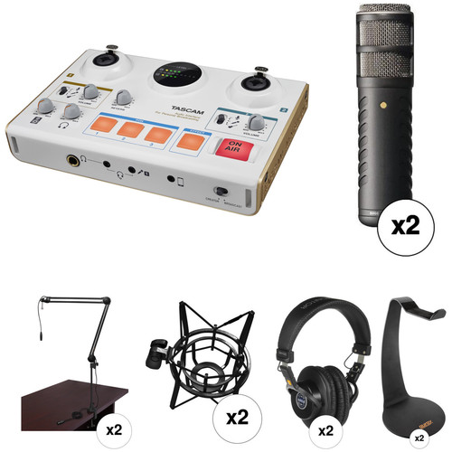 Tascam US-42 Audio Interface with Two Procaster Microphones and Broadcast Arm Kit