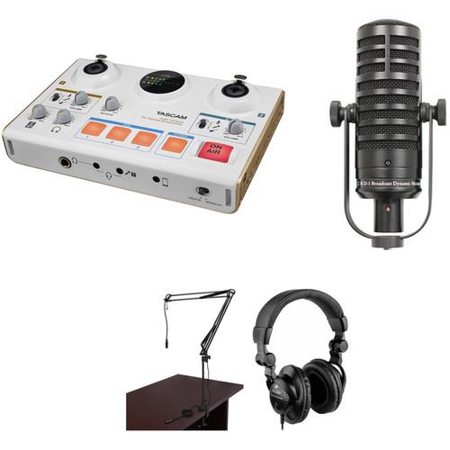 Tascam MiNiSTUDIO Creator US-42 Podcast Studio with One MXL Broadcast Dynamic Mic, Headphones, and Boom Arm Kit