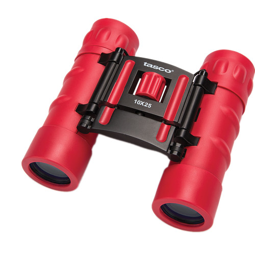 Tasco 10x25 Essentials Compact Binocular (Red, Clamshell Packaging)