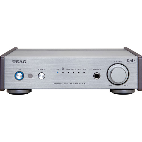Teac AI-301DA-S Pre-Main Amplifier with Bluetooth, USB, and Digital-to-Analog Converter (Silver)