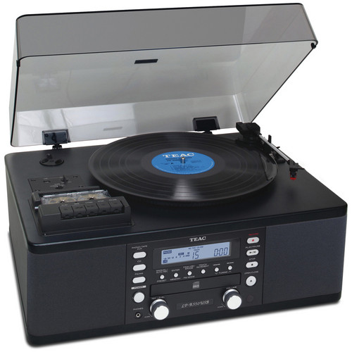 Teac LP-R550USB-B Turntable with CD Recorder, Cassette Deck, and AM/FM Tuner
