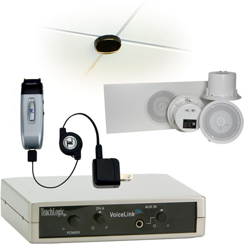 TeachLogic IRV-3415/CS4 VoiceLink Plus Infrared Wireless Classroom Microphone System with 1 Sapphire Microphone & 4 Ceiling-Mount Speakers