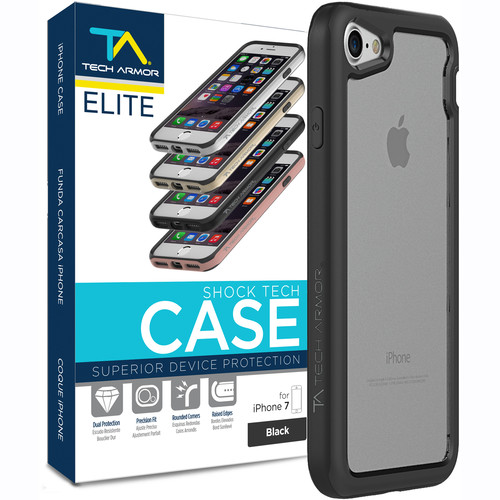 Tech Armor ELITE ShockTech Case for iPhone 7 (Black/Clear)