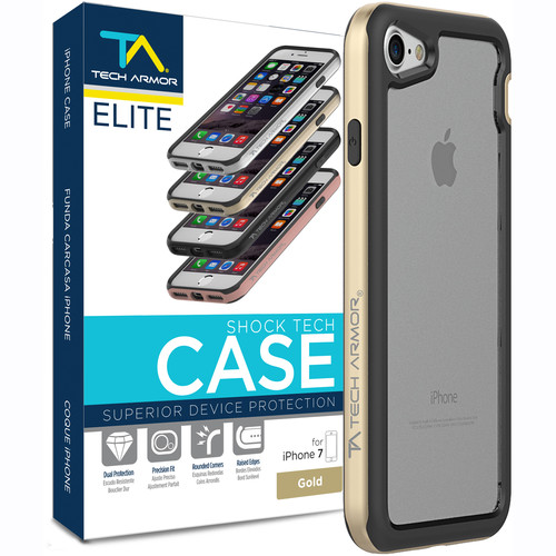 Tech Armor ELITE ShockTech Case for iPhone 7 (Gold/Clear)