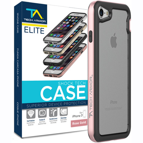 Tech Armor ELITE ShockTech Case for iPhone 7 (Rose Gold/Clear)