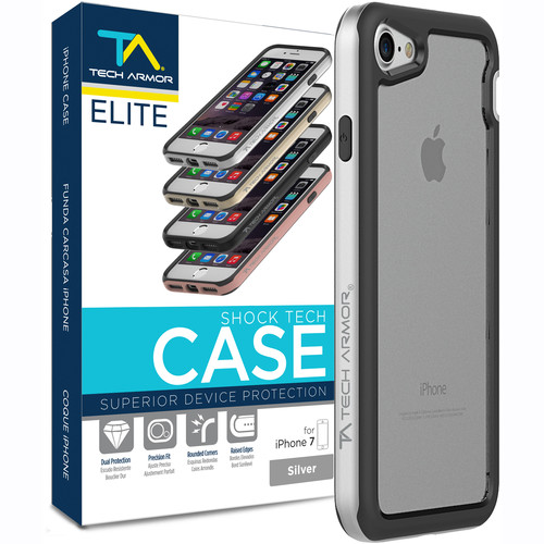 Tech Armor ELITE ShockTech Case for iPhone 7 (Silver/Clear)