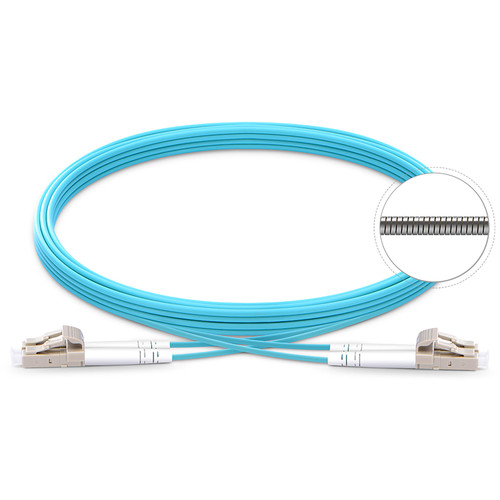 TechLogix Networx OM4 3.0mm Duplex Multimode Armored Premade Cable with LC to LC Connectors (65.6')