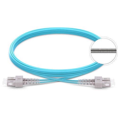 TechLogix Networx OM4 3.0mm Duplex Multimode Armored Premade Cable with SC to SC Connectors (22.9')