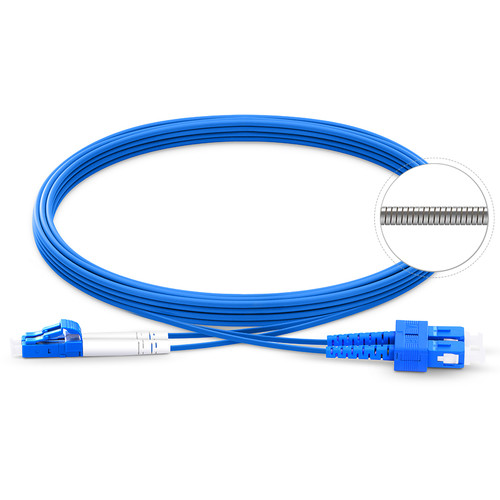 TechLogix Networx OS2 3.0mm Duplex Single-Mode Armored Premade Cable with LC to SC Connectors (65.6')