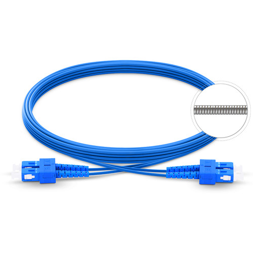 TechLogix Networx OS2 3.0mm Duplex Single-Mode Armored Premade Cable with SC to SC Connectors (49.2')