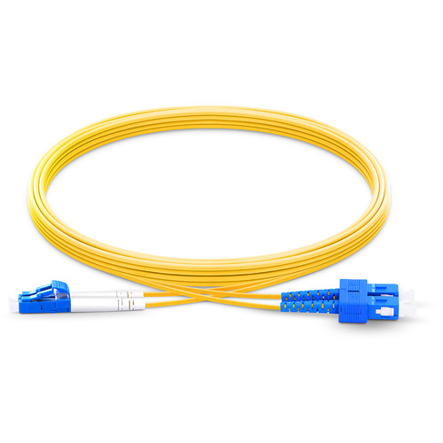 TechLogix Networx OS2 2.0mm Duplex Single-Mode Economy Premade Cable with LC to SC Connectors (32.8')