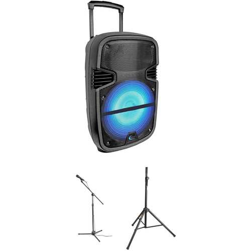 "Technical Pro Rechargeable 12"" LED Active Loudspeaker Kit with Microphone, Mic Stand, and Speaker Stand"