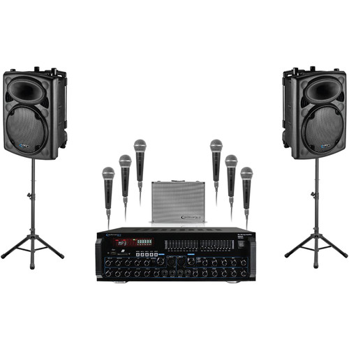 "Technical Pro STAGEPACK12 - Dual 12"" Stage Speaker Package with Mixer Amp and 6 Microphones"