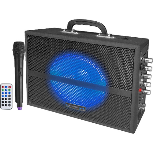"Technical Pro WASP520LBT 6.5"" Rechargeable Battery Powered Bluetooth PA System with Wireless VHF Microphone"