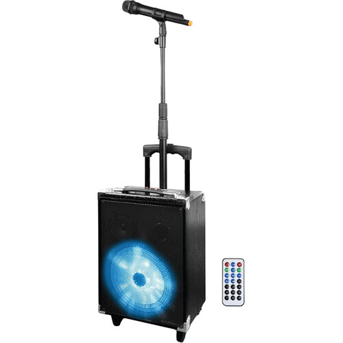 Technical Pro WASP680X 8in. Rechargeable Bluetooth PA Speaker with Wireless Mic and Telescopic Mic Stand