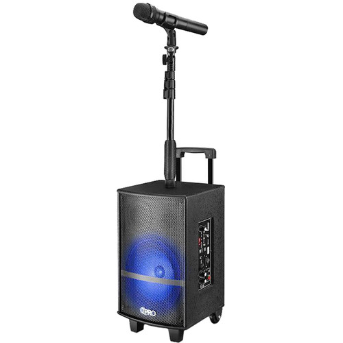 """Technical Pro WASP810XStand Rechargeable 8"""" Bluetooth-Enabled Portable PA System with Light Show and Mic Stand Attachment"""