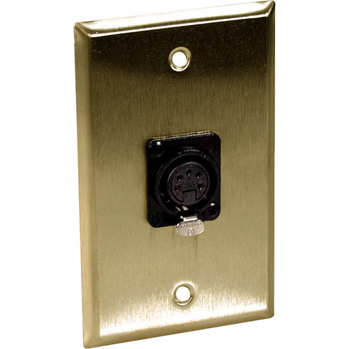 TecNec 1-Gang Brass Wall Plate with 5-Pin XLR DMX Connector