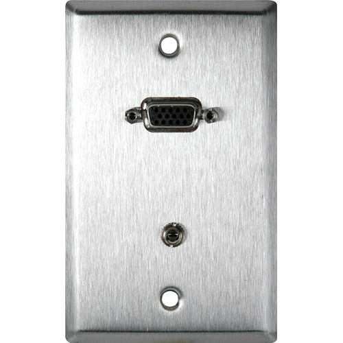 TecNec 1-Gang Stainless Plate with 15-pin HD Female TB and Stereo Mini Jack