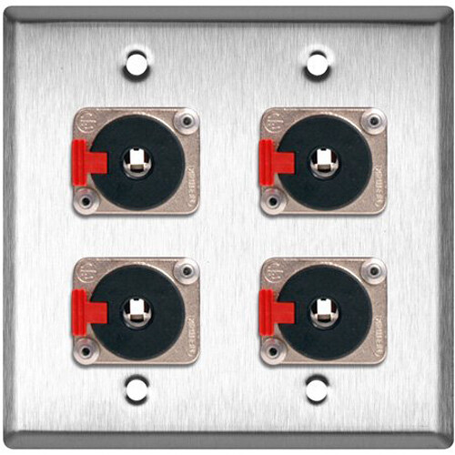 """TecNec 2-Gang Stainless Steel Wall Plate with 4 Neutrik Stereo 1/4"""" Latching Jacks"""