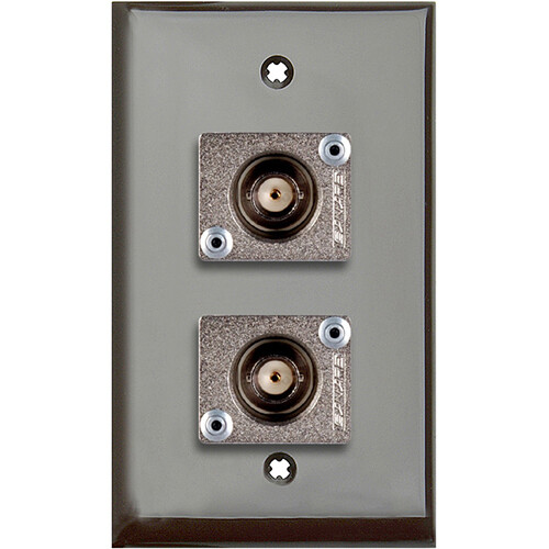 TecNec 1-Gang Brown Lexan Wall Plate with 2 Canare BCJ-JRUK BNC Feed-Through Connectors
