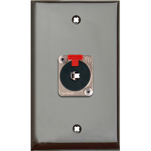 """TecNec 1-Gang Brown Lexan Wall Plate with 1 NJ3FP6C 1/4"""" TRS Latching Jack"""