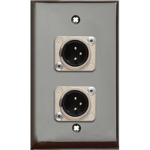 TecNec 1-Gang Brown Lexan Wall Plate with 2 Neutrik 3-Pin XLR Male Connectors