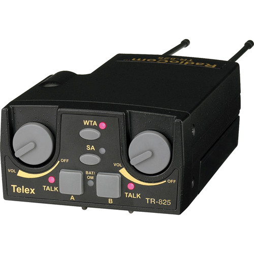 Telex TR-825 UHF 2Channel Binaural Wireless Beltpack Transceiver:A4F Headset Jack/Channel C3:554-572MHz