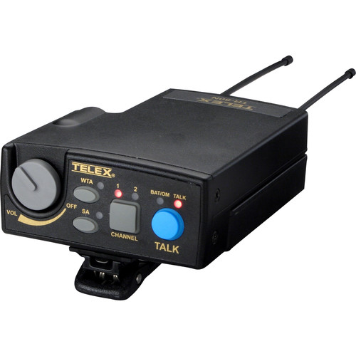 Telex TR-80N UHF 2-Channel Narrow Band Beltpack Transceiver: A4M Headset Jack / Channel B3: 536-554MHz