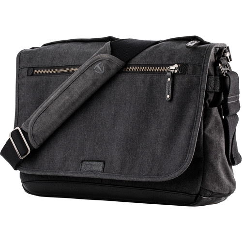 Tenba Cooper 15 Slim Messenger Bag with Leather Accents (Gray)
