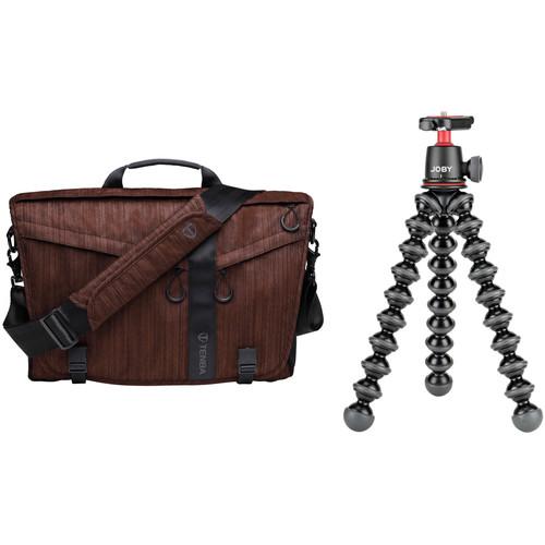 Tenba DNA 15 Dark Copper Slim Messenger Bag and Joby GorillaPod 3K Flexible Mini-Tripod with Ball Head Kit