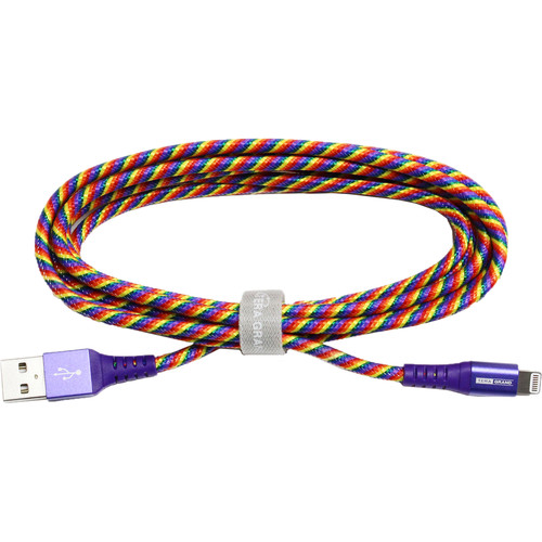 Tera Grand MFi Lightning to USB Braided Cable with Aluminum Housing (7', Rainbow)