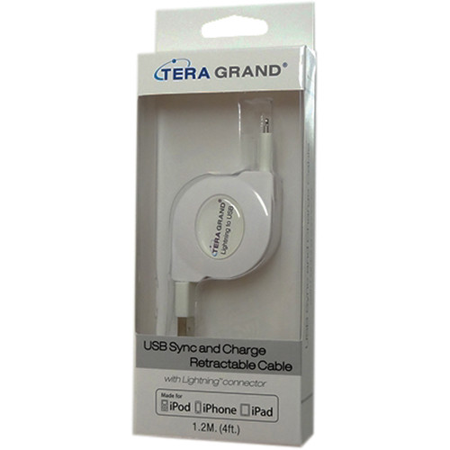 Tera Grand Apple MFi Lightning to USB Sync and Charge Retractable Cable (4', White)