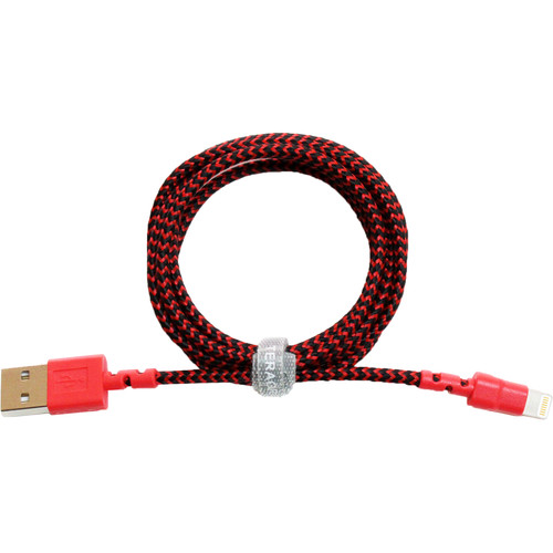 Tera Grand Apple MFi Certified Lightning to USB Braided Cable (4', Red/Black)