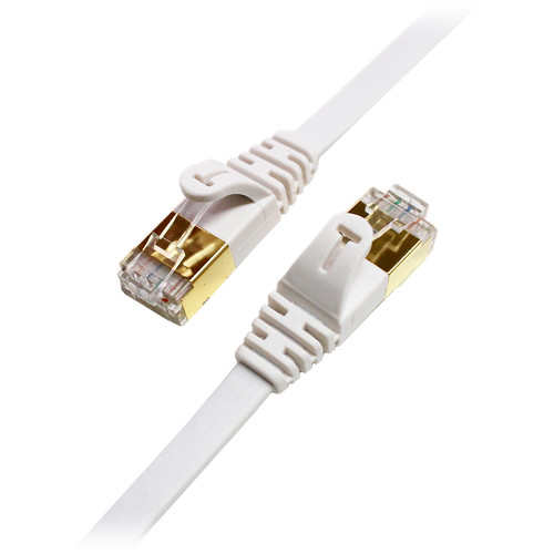 Tera Grand Cat 7 Shielded Ultra Flat Ethernet Patch Cable (10Gb, 12', White)