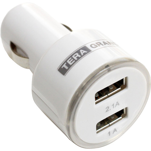 Tera Grand 3.1A Dual Port USB Type-A Car Charger (White)