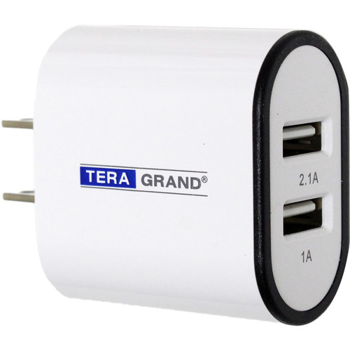 Tera Grand 3.1A Dual Port USB Type-A Wall Charger (White/Black)